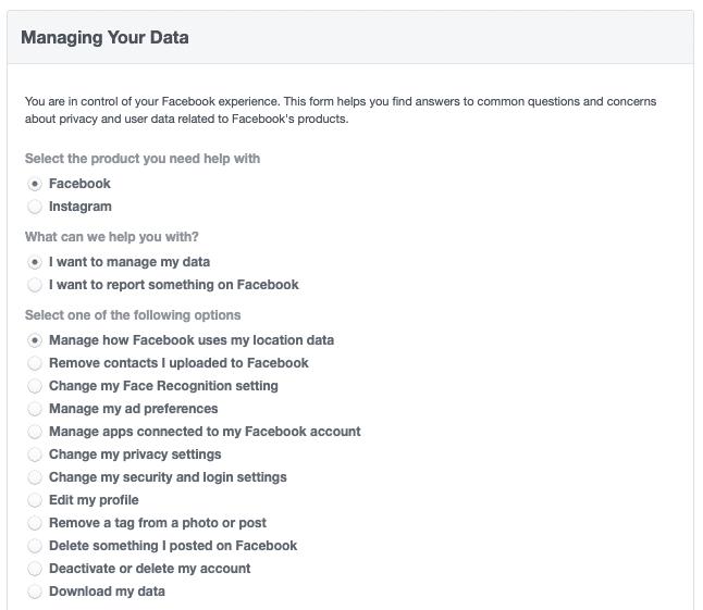 Facebook security - Managing Your Data
