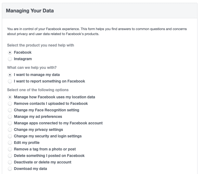 Facebook security - Managing Your Data