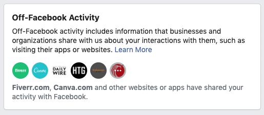 Facebook security - off-Facebook activity 1