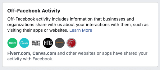 Facebook security - off-Facebook activity 1