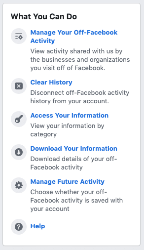 Facebook security - off-Facebook activity 3 - what you can do