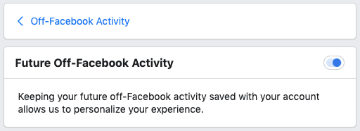 Facebook security - turn off your Off-Facebook Activity