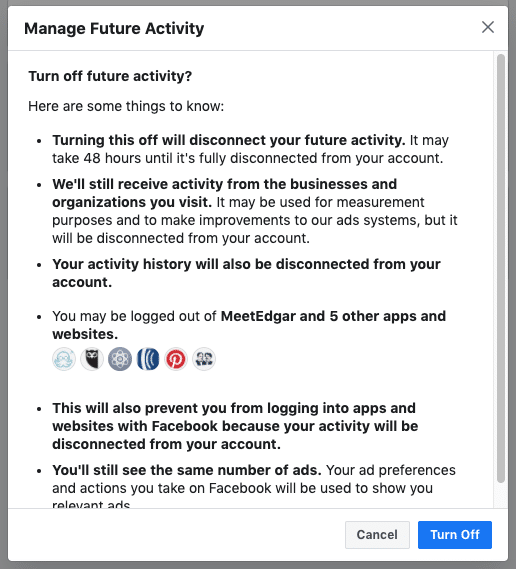Facebook security - turn off your Off-Facebook Activity turn off 2