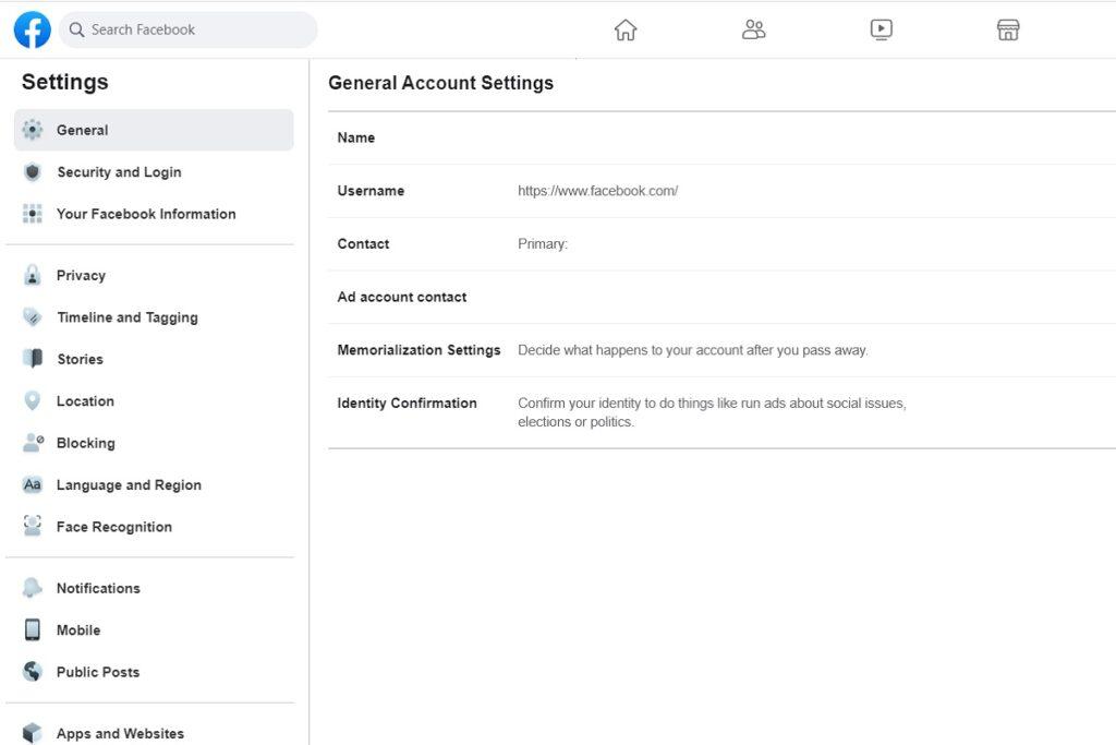 Facebook Privacy General Settings