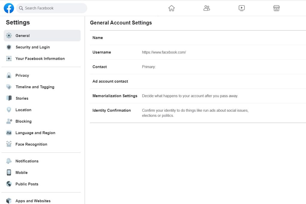 Facebook Privacy General Settings