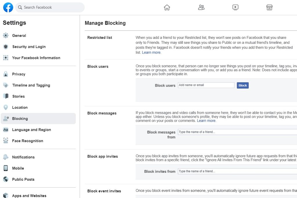 Facebook Privacy Settings Manage Blocking