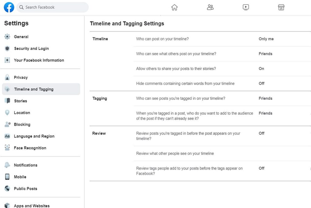 Facebook Privacy Settings Timeline And Tagging Settings