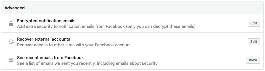 Facebook security - advanced settings