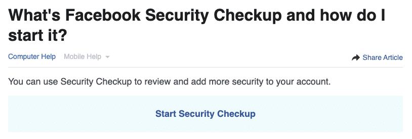 Facebook Security Checkup 1