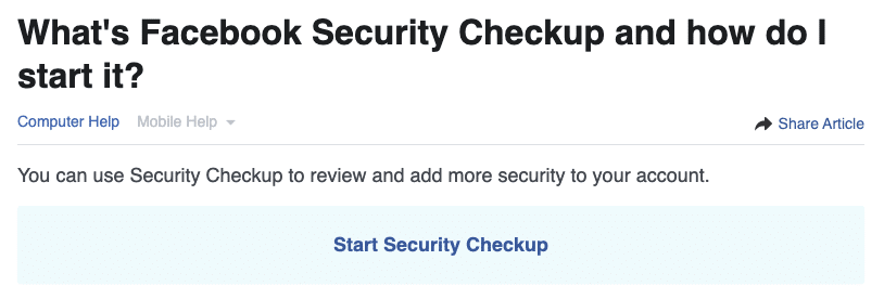 Facebook Security Checkup 1