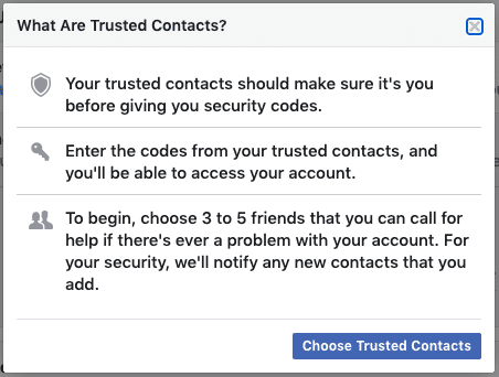 Facebook security - Trusted Contacts step 2