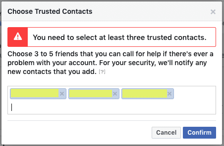 Facebook security - Trusted Contacts step 3