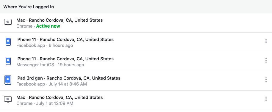 Facebook security settings - Where You're Logged In